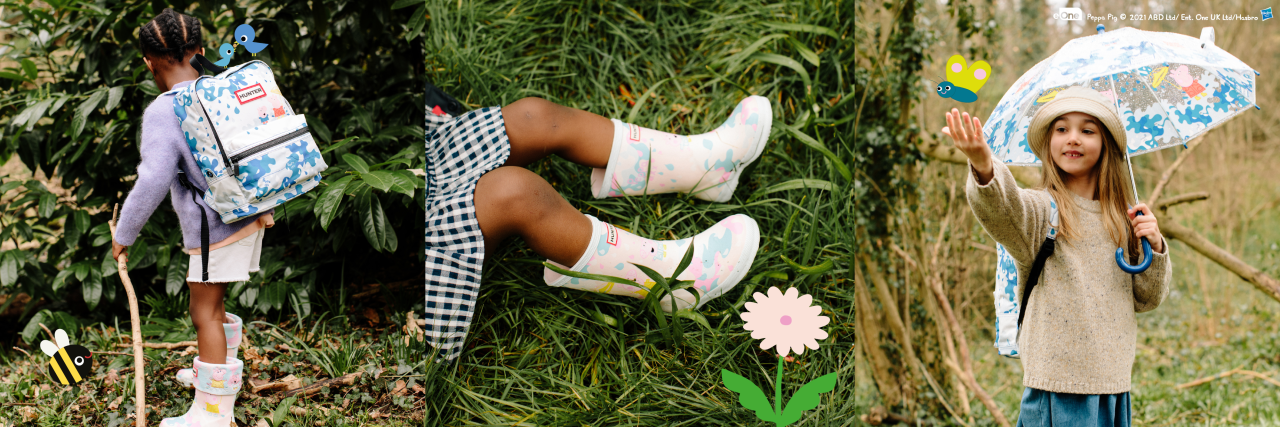A trio of images with children wearing the Hunter x Peppa Pig collection including boots, socks, backpack and umbrella.