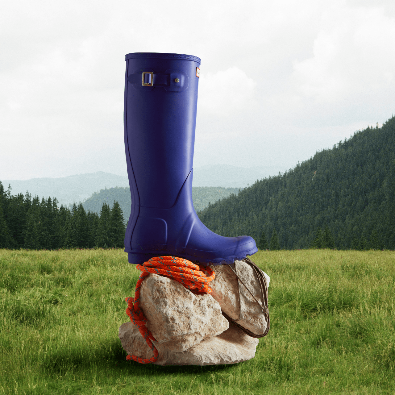 Blue original tall wellington boot sitting on a rock with trees and grass in the background.