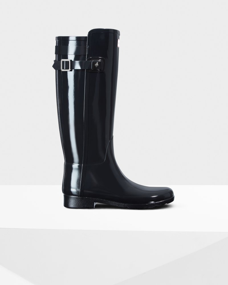 Women's Original Tall Refined Gloss Back Strap Wellington Boots