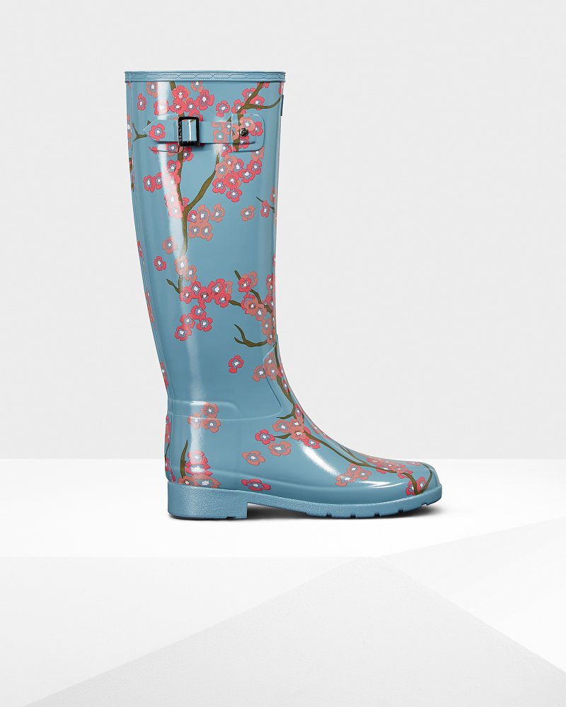 Women's Refined Blossom Print Tall Wellington Boots