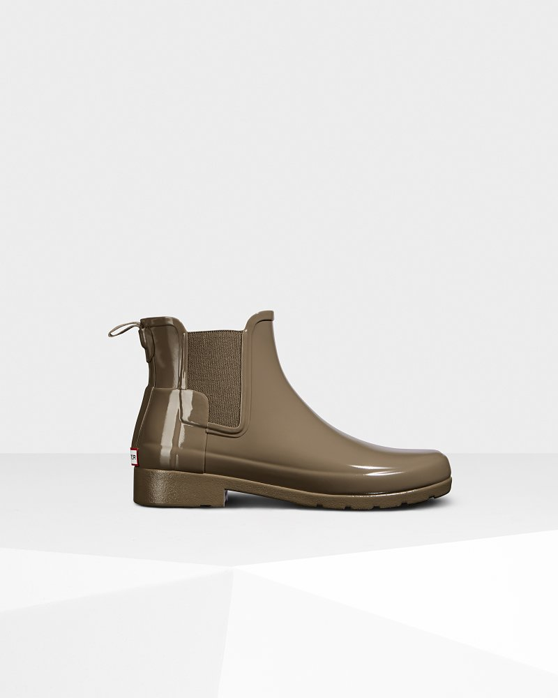 Damen Original schicker Chelsea-Stiefel in Glanzoptik