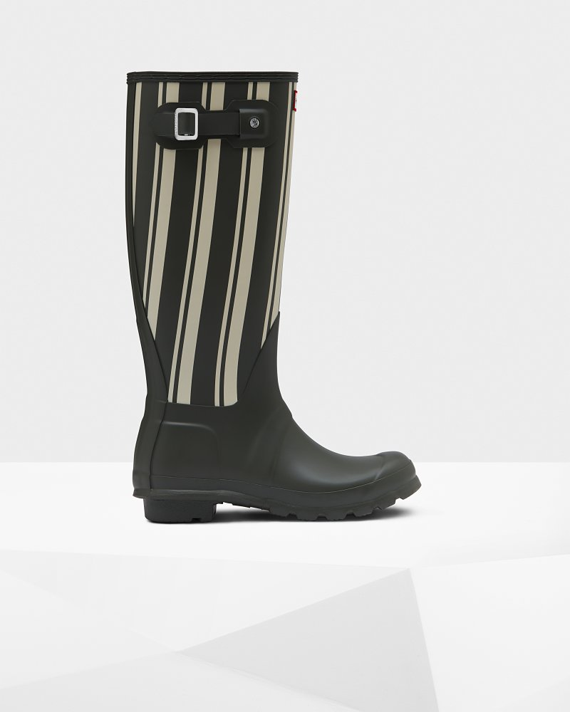 Stivali da donna alti Wellington Original Garden Stripe Tall
