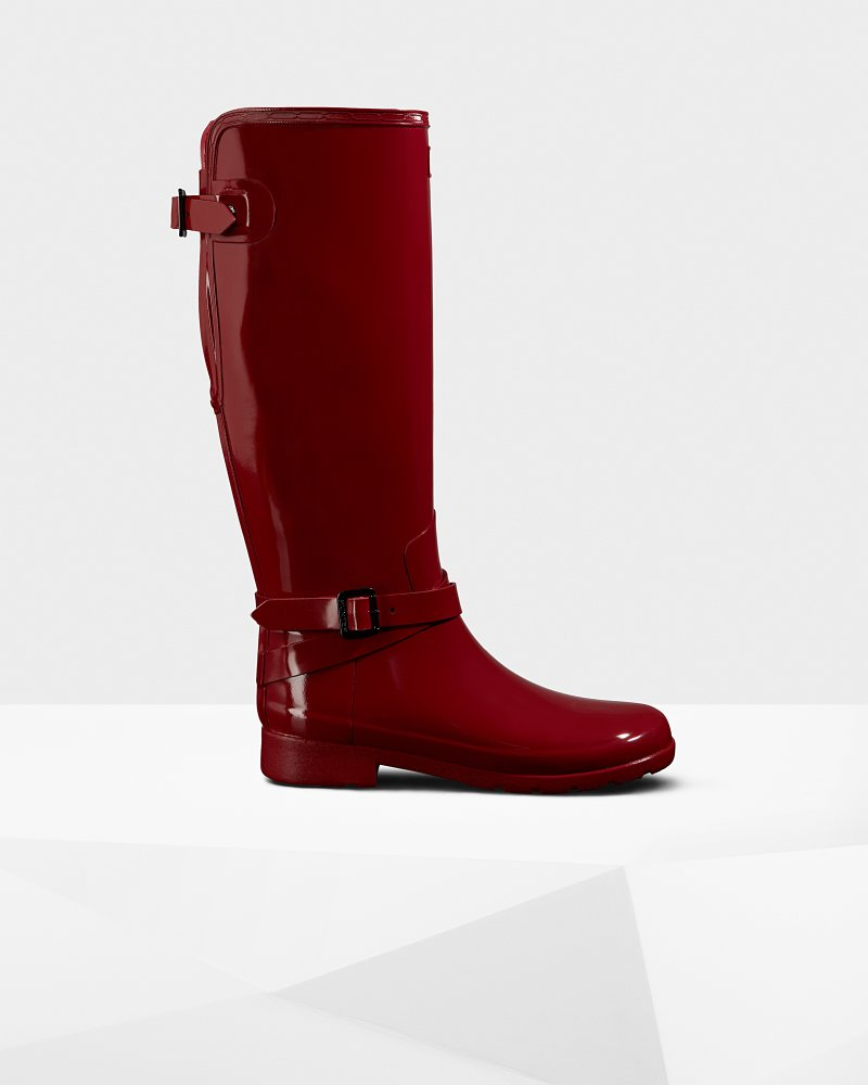Women's Refined Adjustable Tall Gloss Wellington Boots