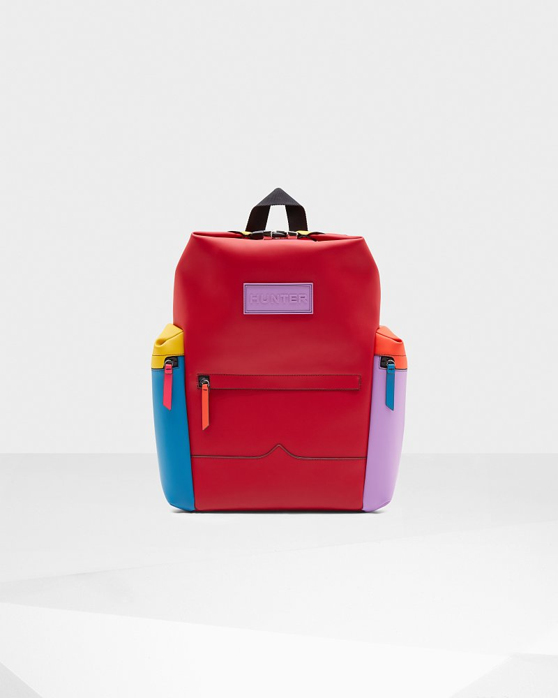 Original Colour Block Top Clip Rubberised Leather Backpack