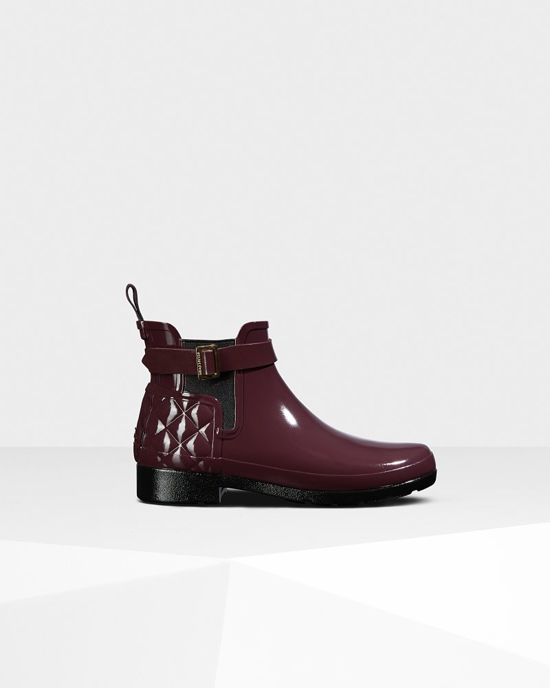 Women's Refined Slim Fit Quilted Gloss Chelsea Boots