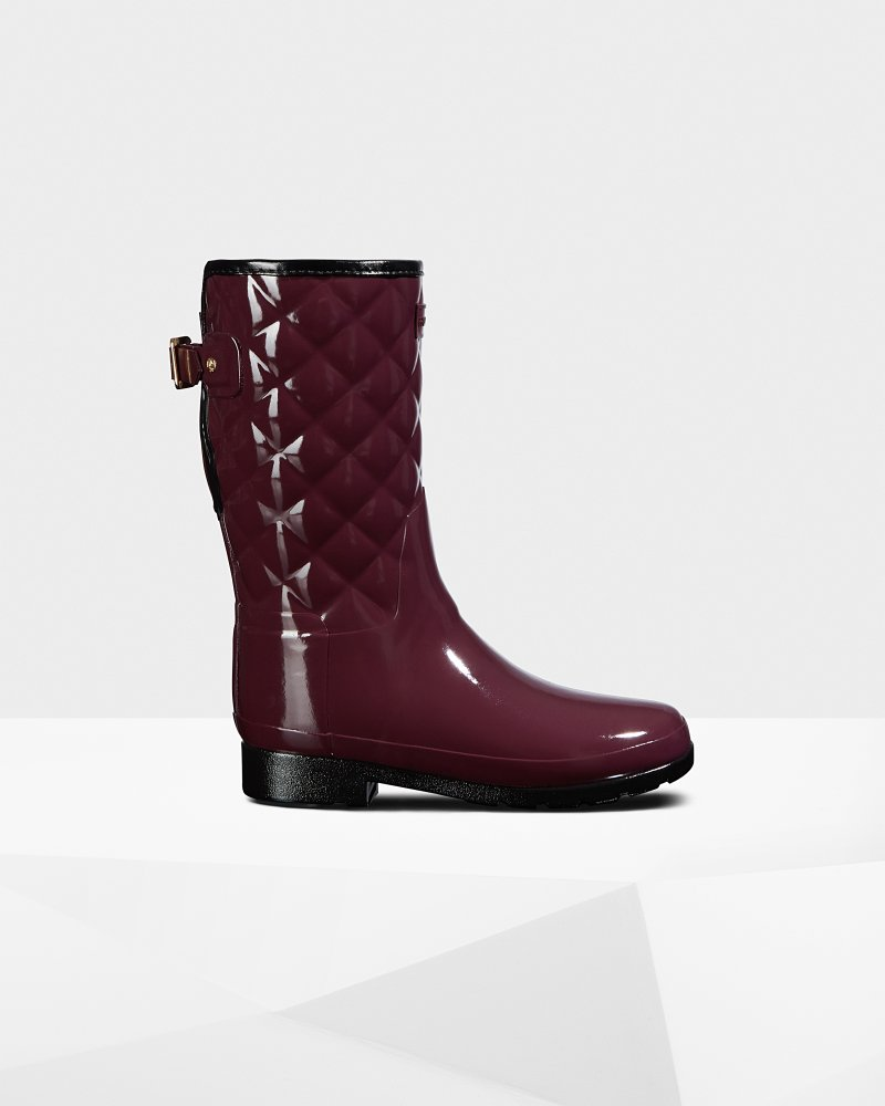 Women's Refined Adjustable Short Quilted Gloss Rain Boots