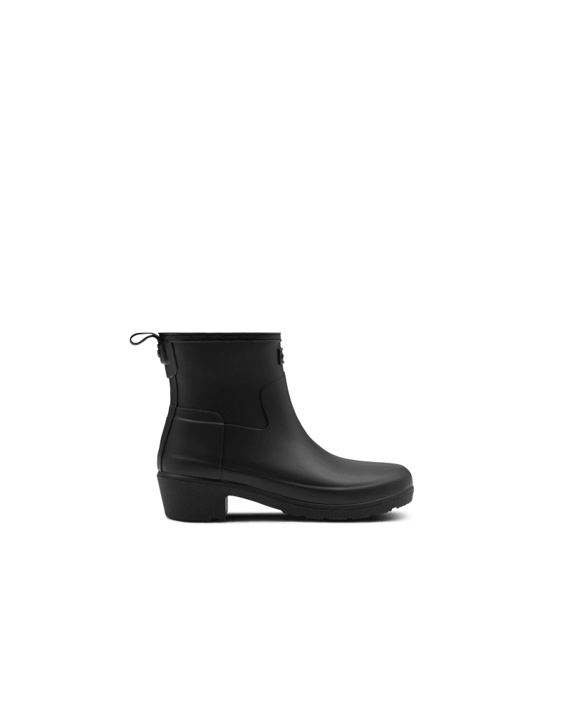 *Size/Fit Summary: True to size, Slim fit* A rain boot that doesn\\\'t look like a rain boot. Finished in a classic black matte, the Original Refined Low Heel boots are handcrafted from natural rubber with a slim fit for a more refined look. Finished with a chunky low-height heel, these sleek ankle boots have a pull tab at the back for easy foot entry. We recommend that all Hunter boots be worn with socks to protect the wearer\\\'s skin from contact with rubber.