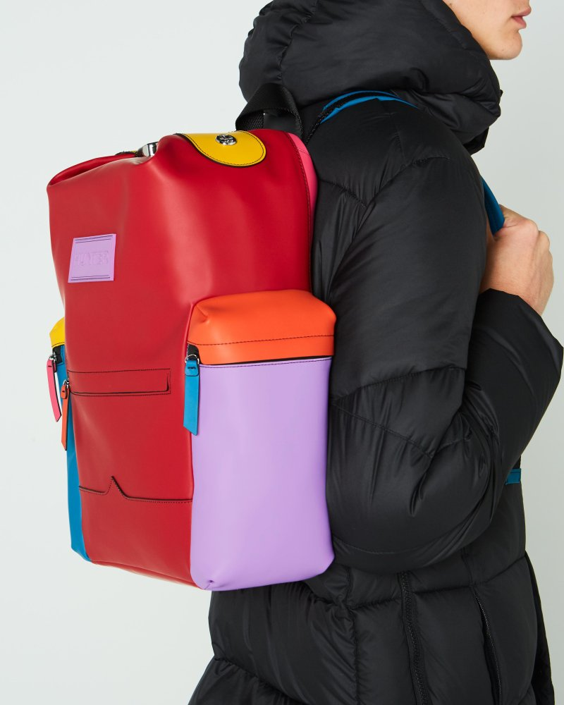 Original Color Block Top Clip Rubberized Leather Backpack