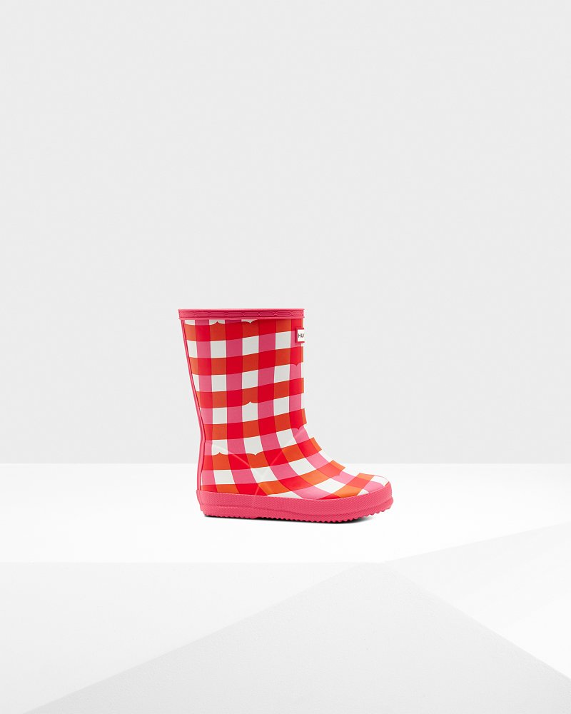 Original Kids First Classic Gingham Print Wellington Boots