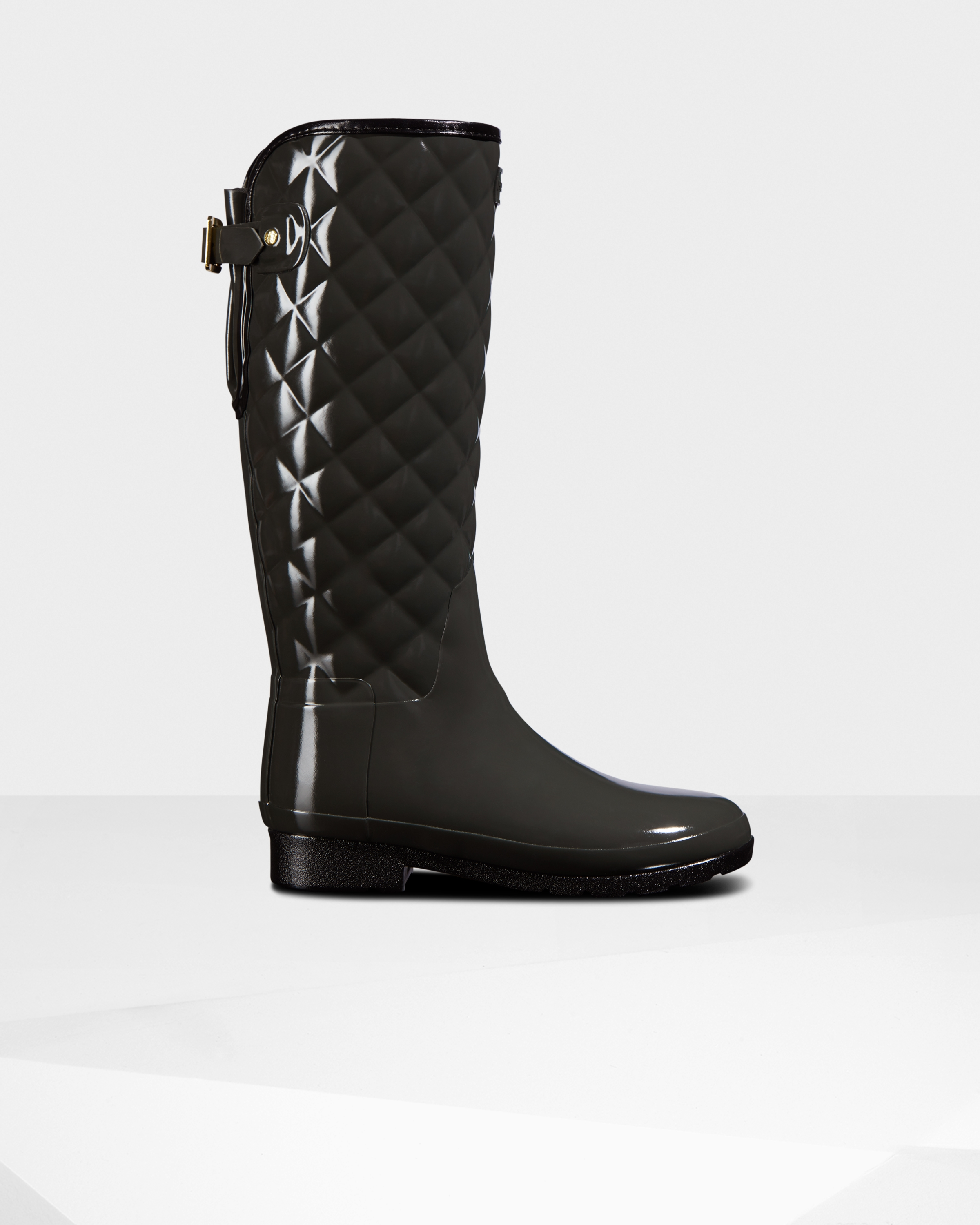 Women's Refined Slim Fit Adjustable Quilted Tall Rain Boots: Tarn Dark Grey   Official Hunter Boots Store