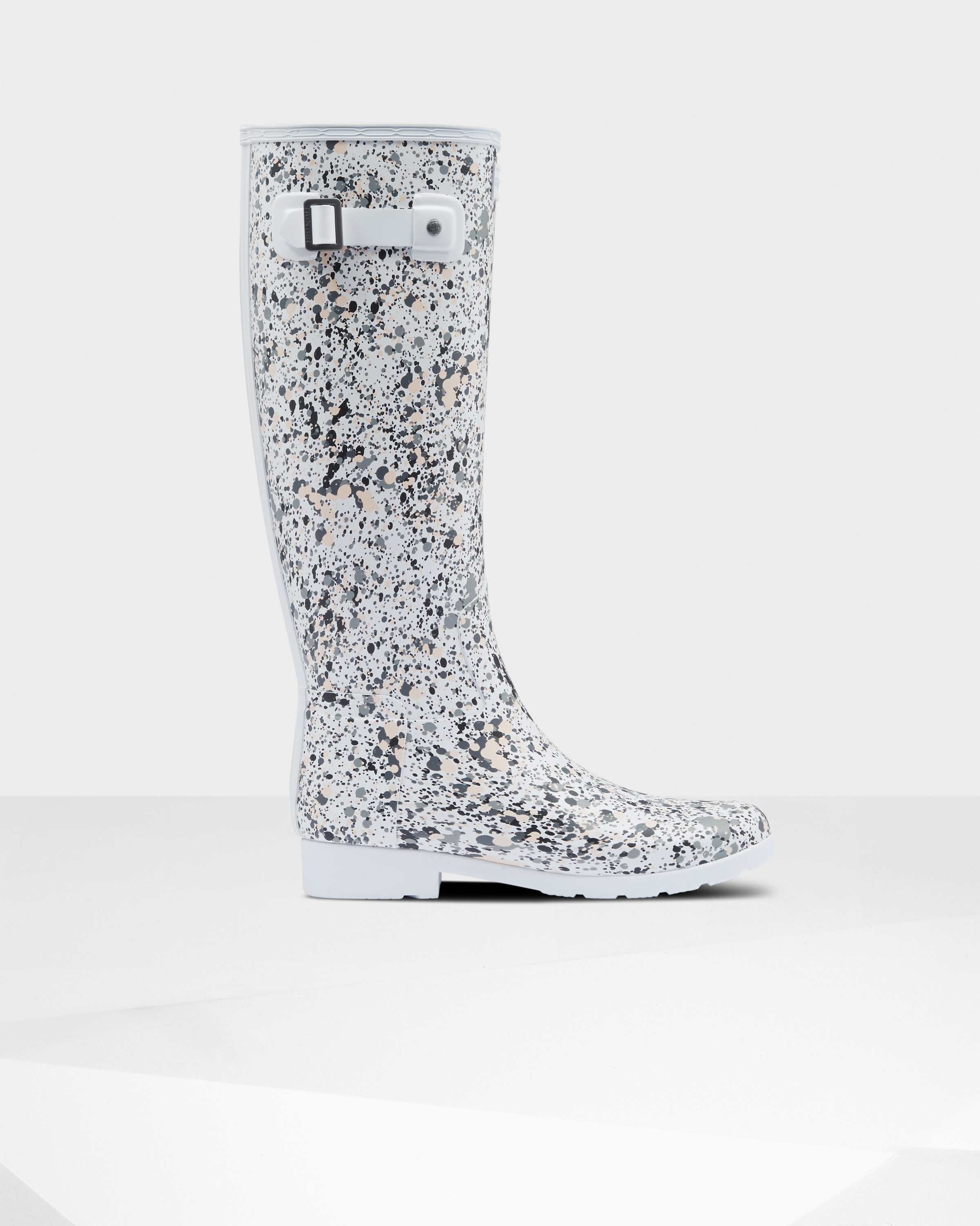 Women's Refined Particle Print Slim Fit Tall Rain Boots: Spurrey White | Official Hunter Boots Store